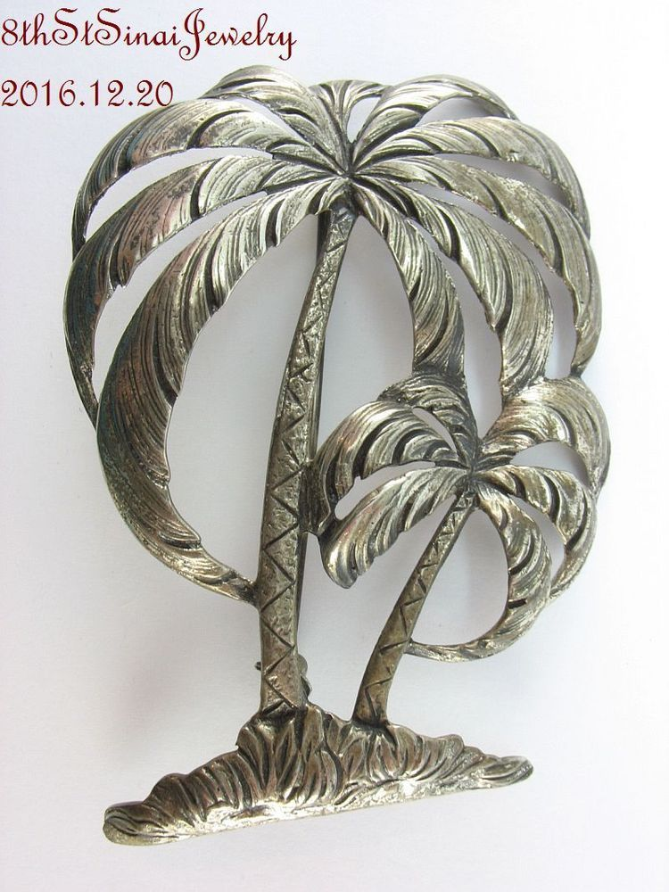 "Estate Danecraft Sterling Silver 925 Detailed Two Palm Trees Brooch Pin 2.5"" #Danecraft"