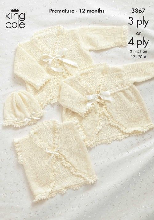 30501177f Baby Coat   Hat Knitting Pattern - 3367 - King Cole