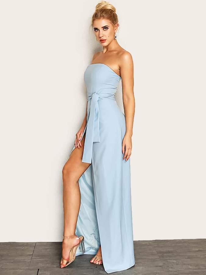 0b929918cd Shein Joyfunear Knot Waist Wrap Split Front Tube Dress in 2019 ...