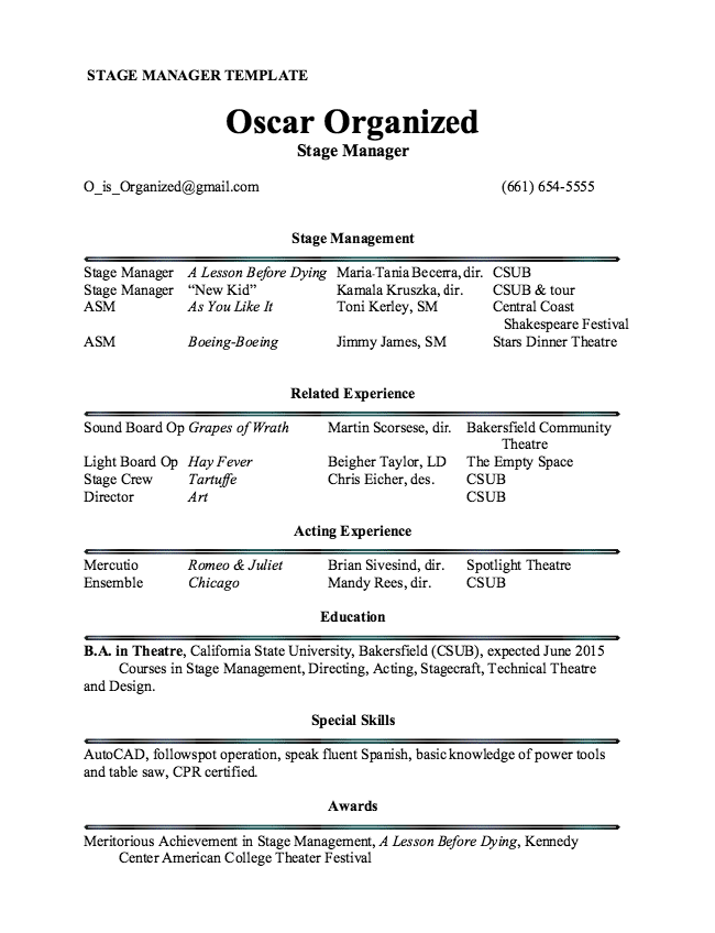 Stage Manager Resume Template - Resume Sample