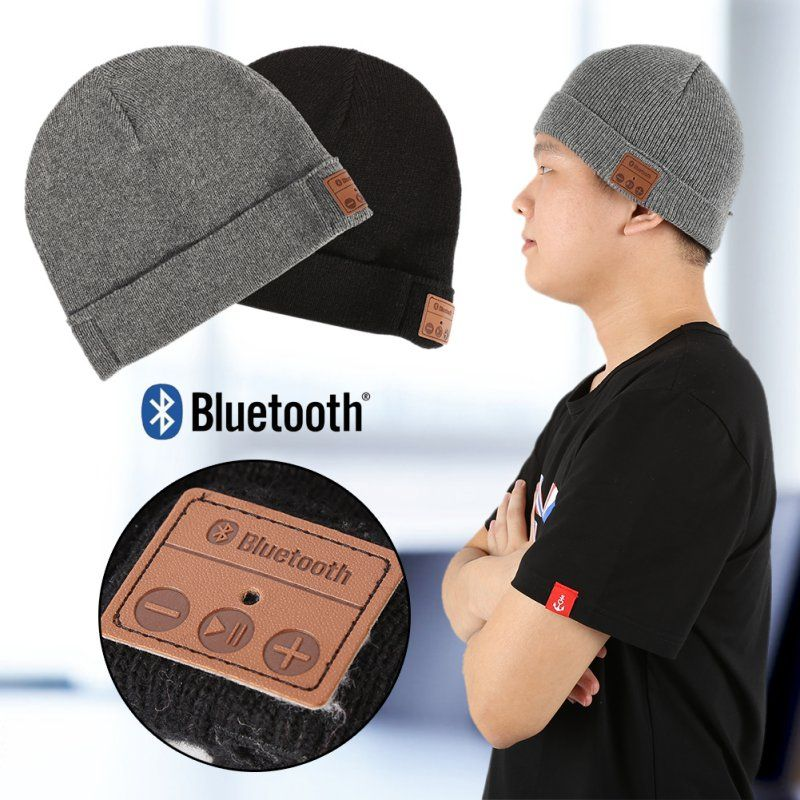 9aa58791977 Wireless Bluetooth Smart Cap Soft Warm Beanie Hat Headset Headphone Speaker  Mic Bluetooth Hat Black Gray Color