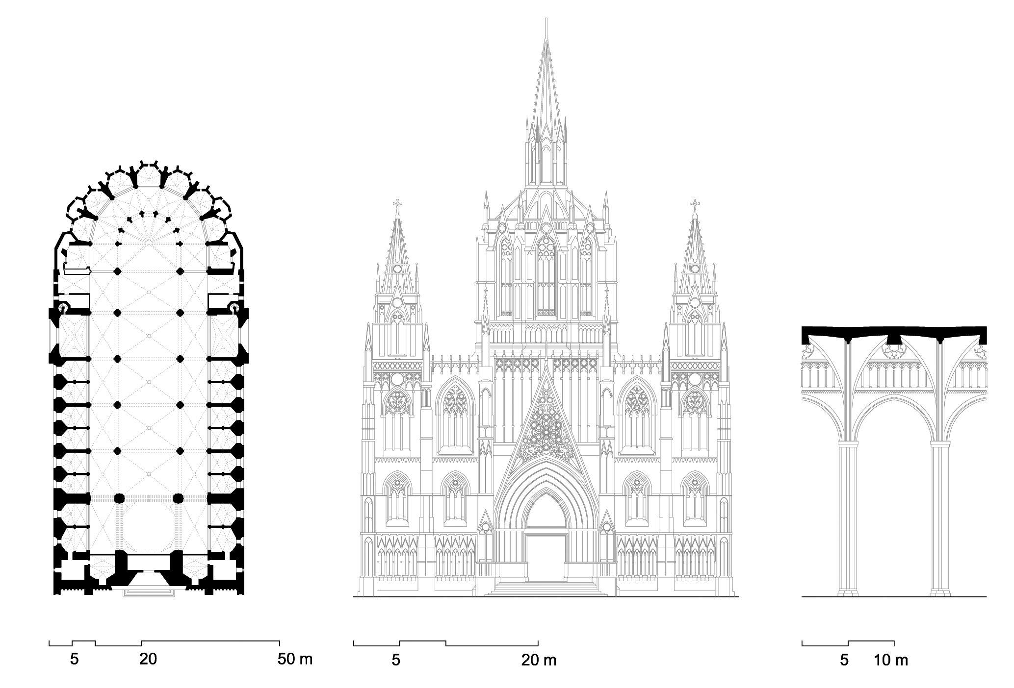 Planta alzado y corte interior de la catedral de Barcelona  La