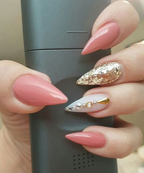 45 Best Light Pink Stiletto Gel Nail Art Designs For Prom Nails