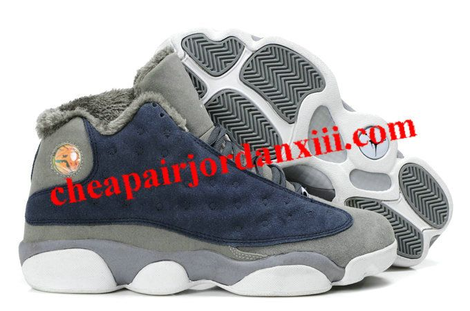 best cheap 0aabf ff9be Cheap Air Jordan XIII Fluffy Flints Navy Blue Grey White Shoes