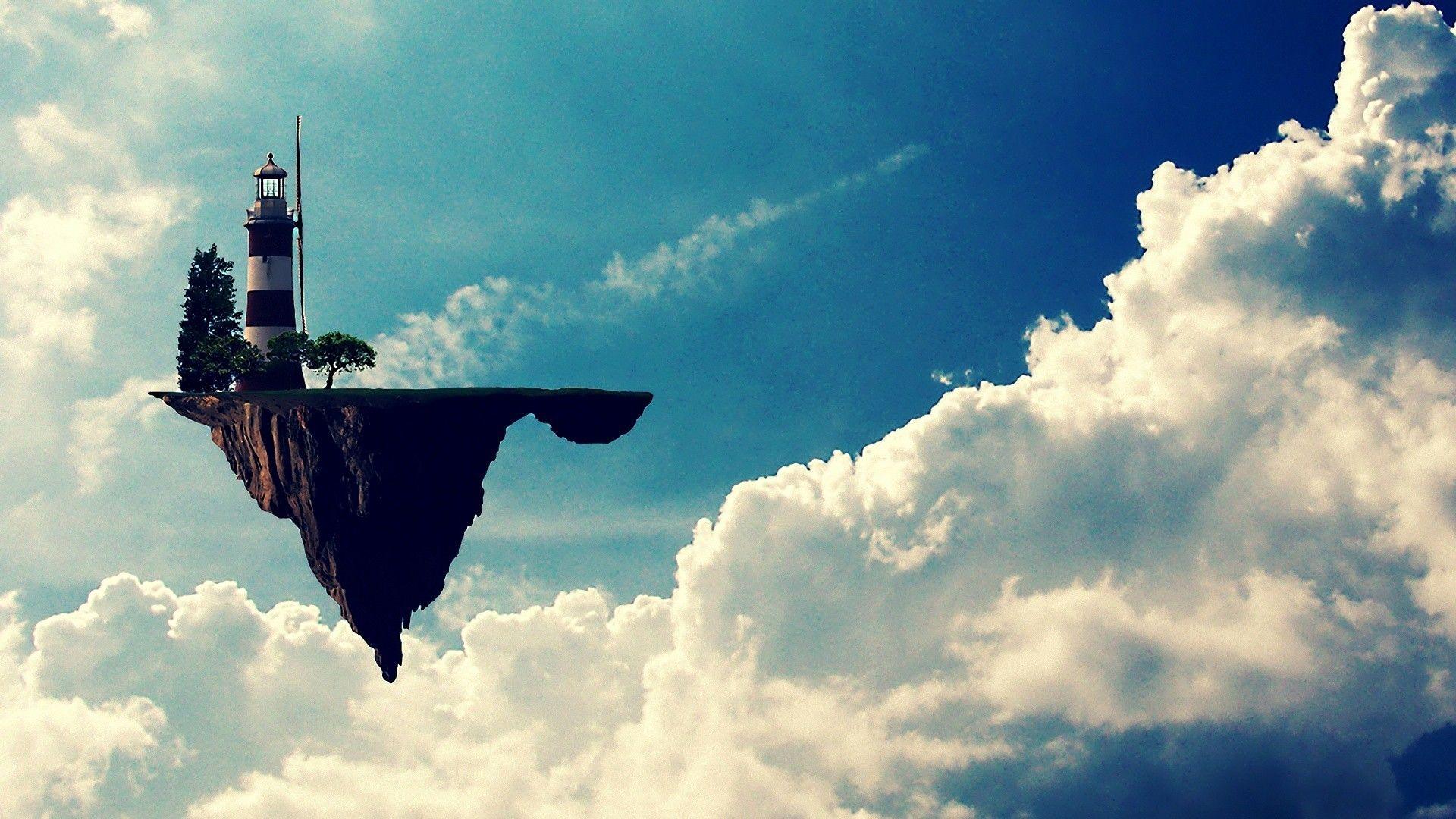 clouds Gorillaz lighthouses fantasy art floating island