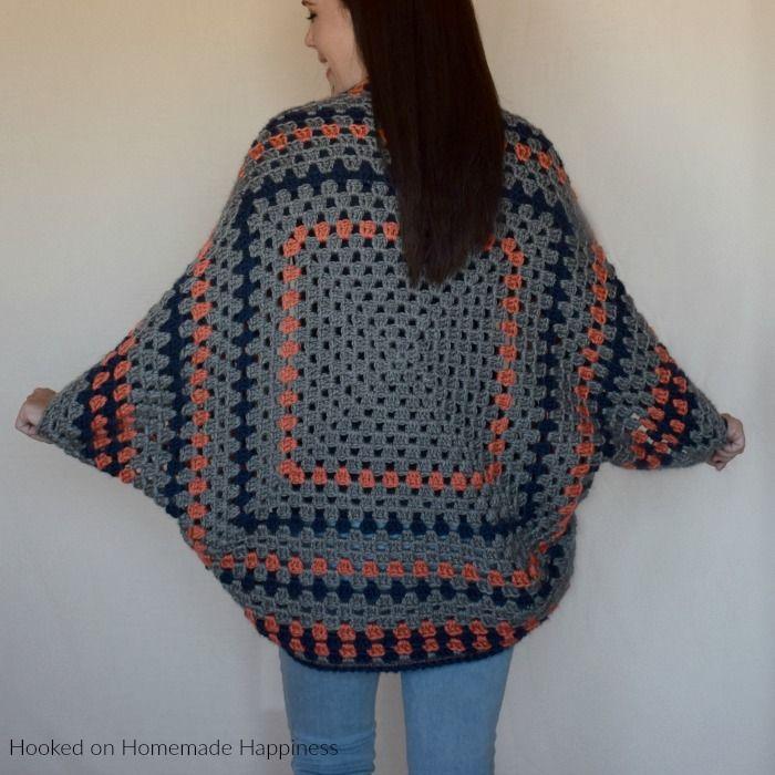 Granny Shrug Crochet Pattern #grannysquareponcho