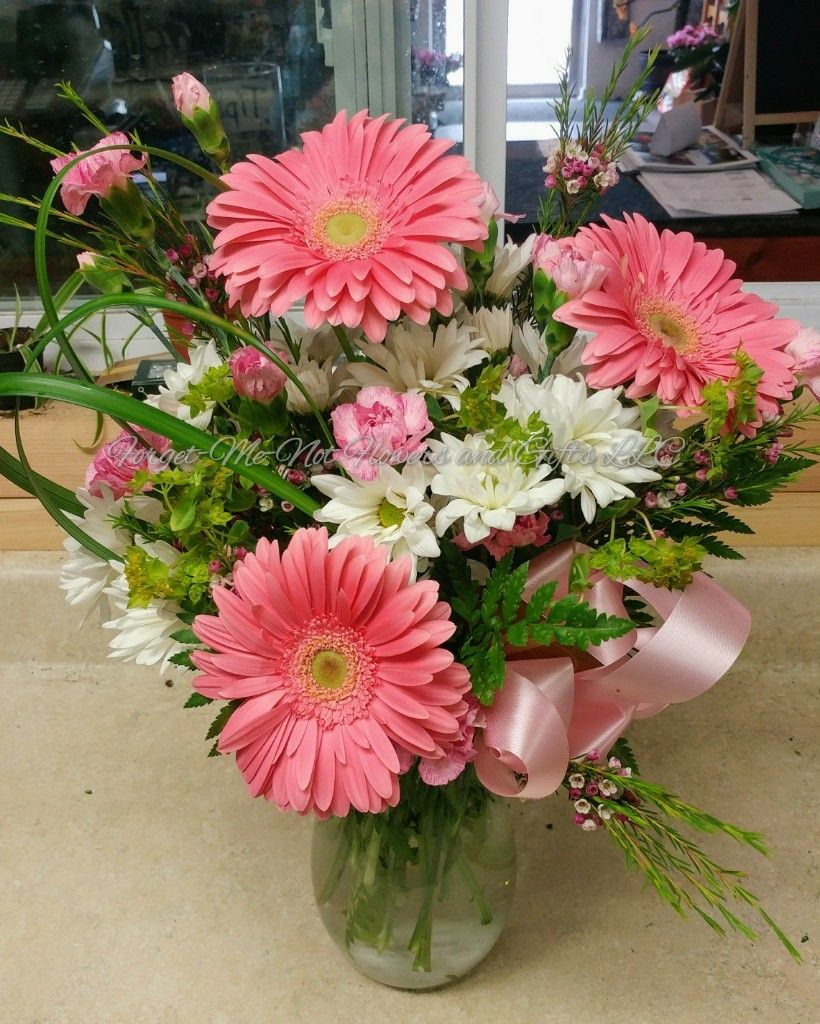 Pink Gerberas And Lily Grass By Forget Me Not Flowers And Gifts