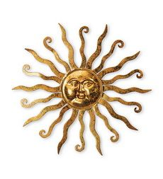 Shimmering Gold Metal Sun Wall Hanging With Etched Swirl Detail