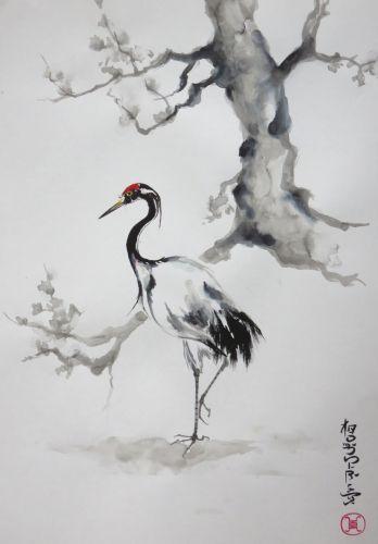 Encre Abby Grue Oiseau Sumie Encre Asiatique Encre Chinoise