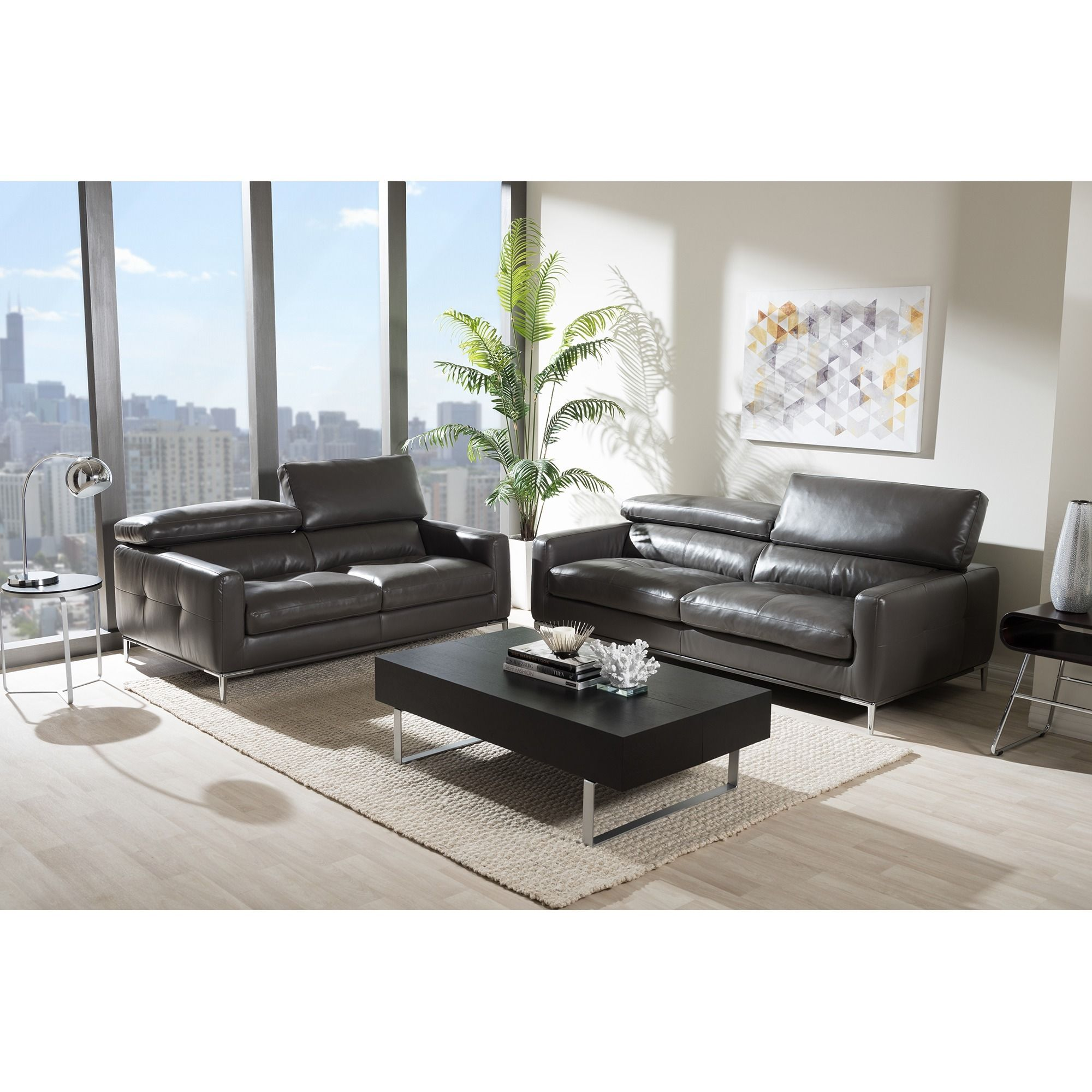 Poundex Bobkona Ellis Bonded Leather Sofa and Loveseat & Reviews