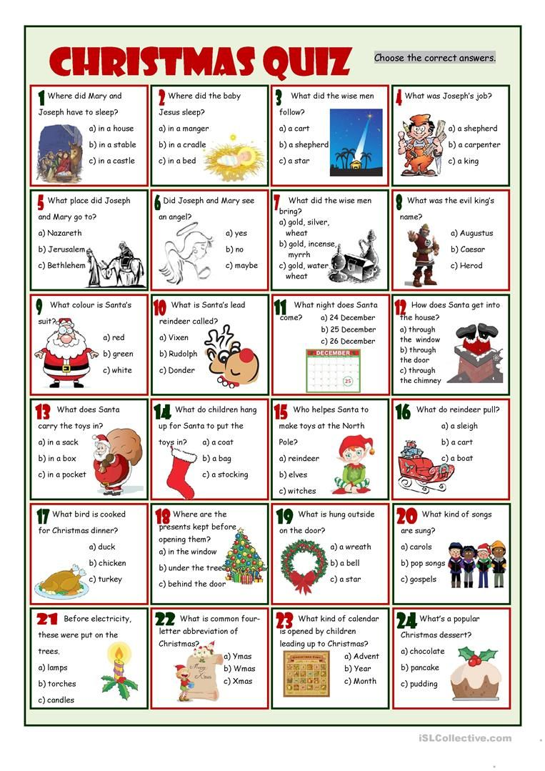Workbooks quiz worksheets : Christmas Quiz worksheet - Free ESL printable worksheets made by ...