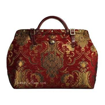 Large Victorian Carpetbag Queen Anne Red Carpet Bag