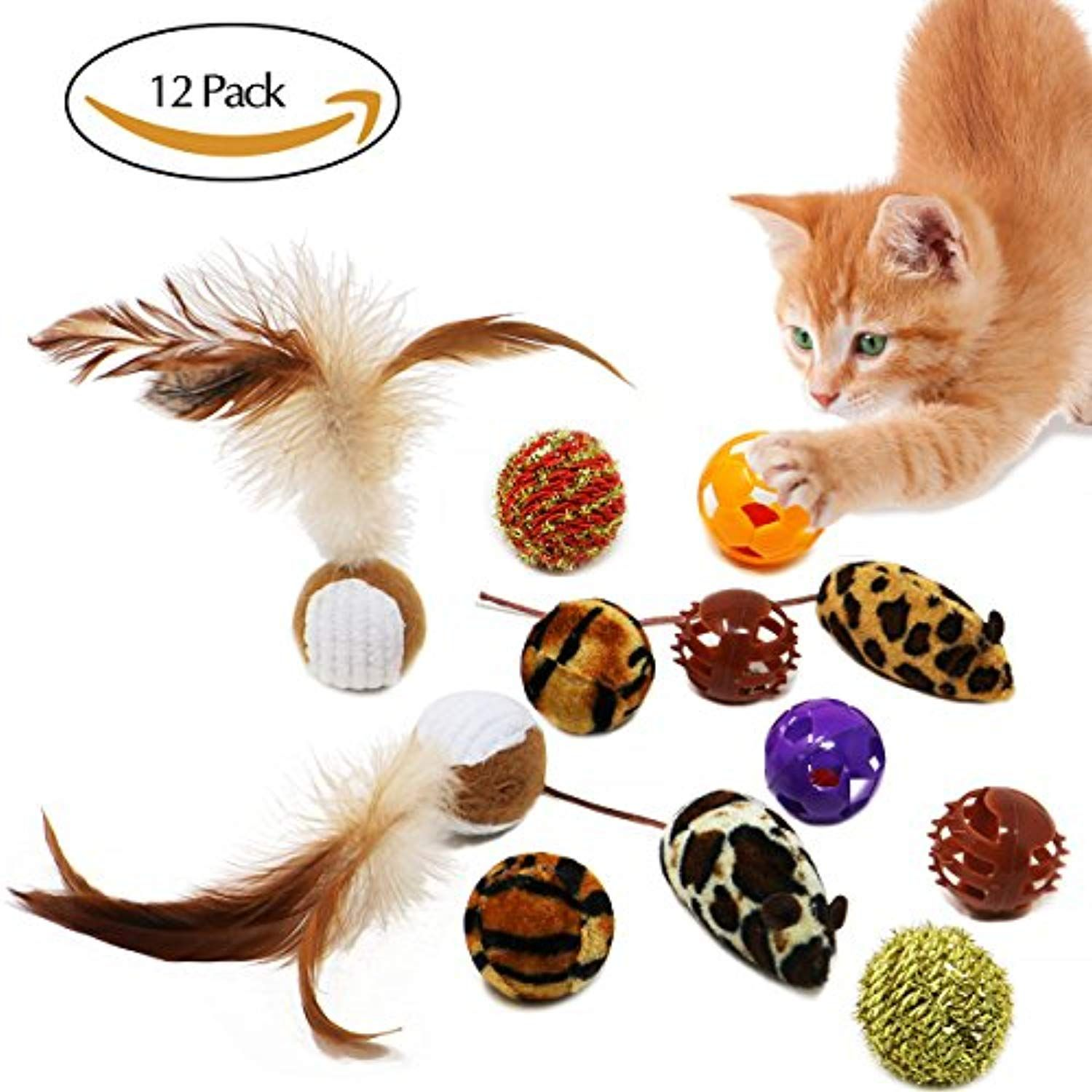 Bascolor Cat Toys Balls Interactive 12 Pack Feather Squeaky Bell Mice Catnip For Cat Kittens Click Image For Mo Cat Toys Cat Accessories Cat Ball
