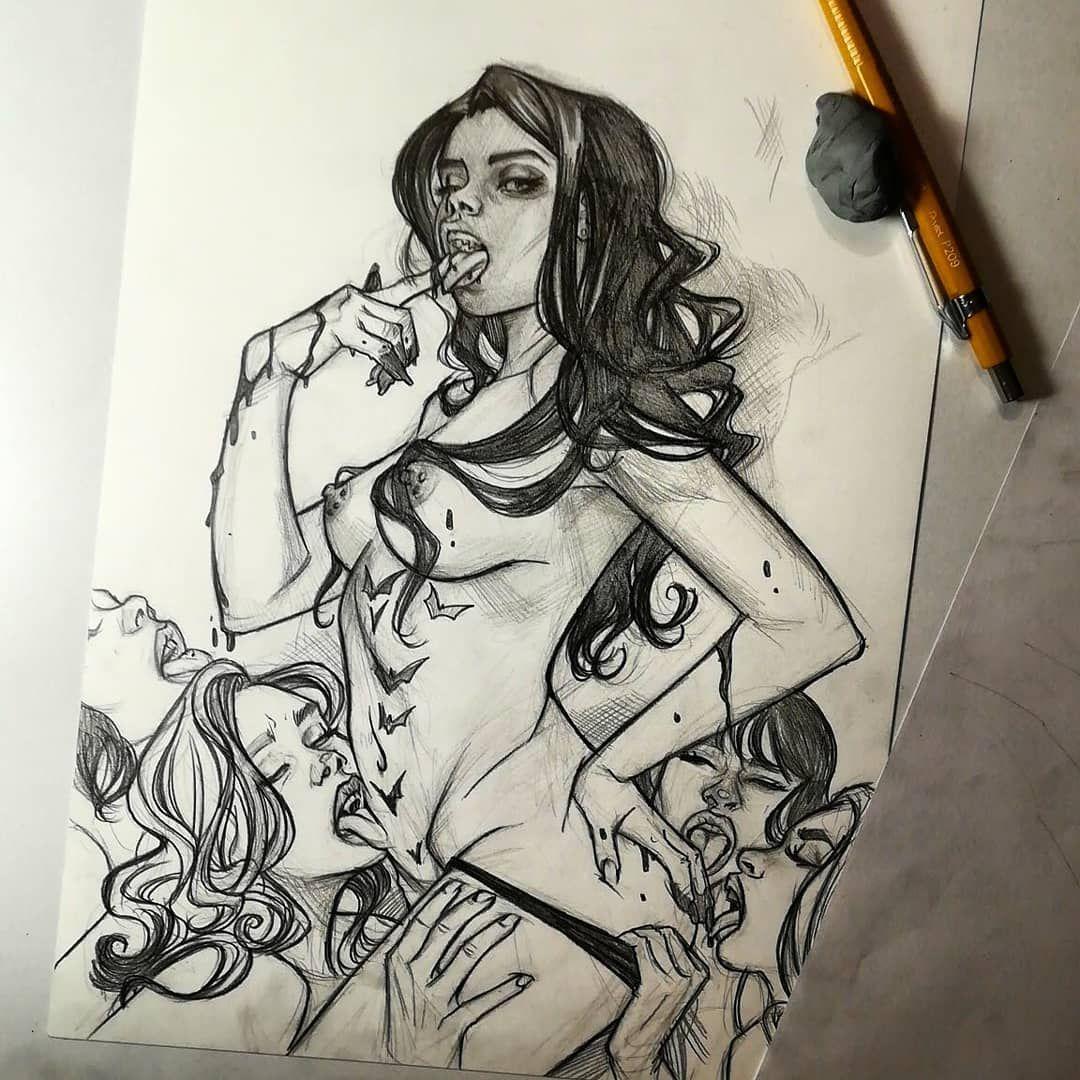 Erotic lesbian vampire art