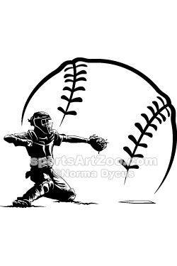Baseball Catcher Silhouette In Ball Sportsartzoo Baseball Catcher Baseball Videos Softball Catcher