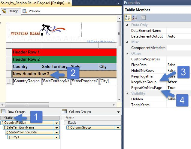 SSRS - use advanced mode to repeat extra group headers on each page ...