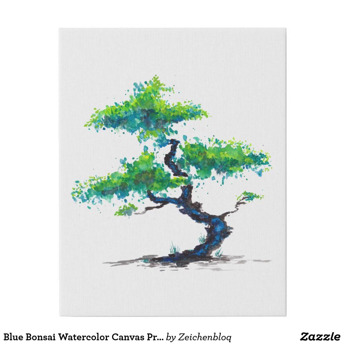 Blue Bonsai Watercolor Canvas Print Zazzle Com Metal Tree Wall