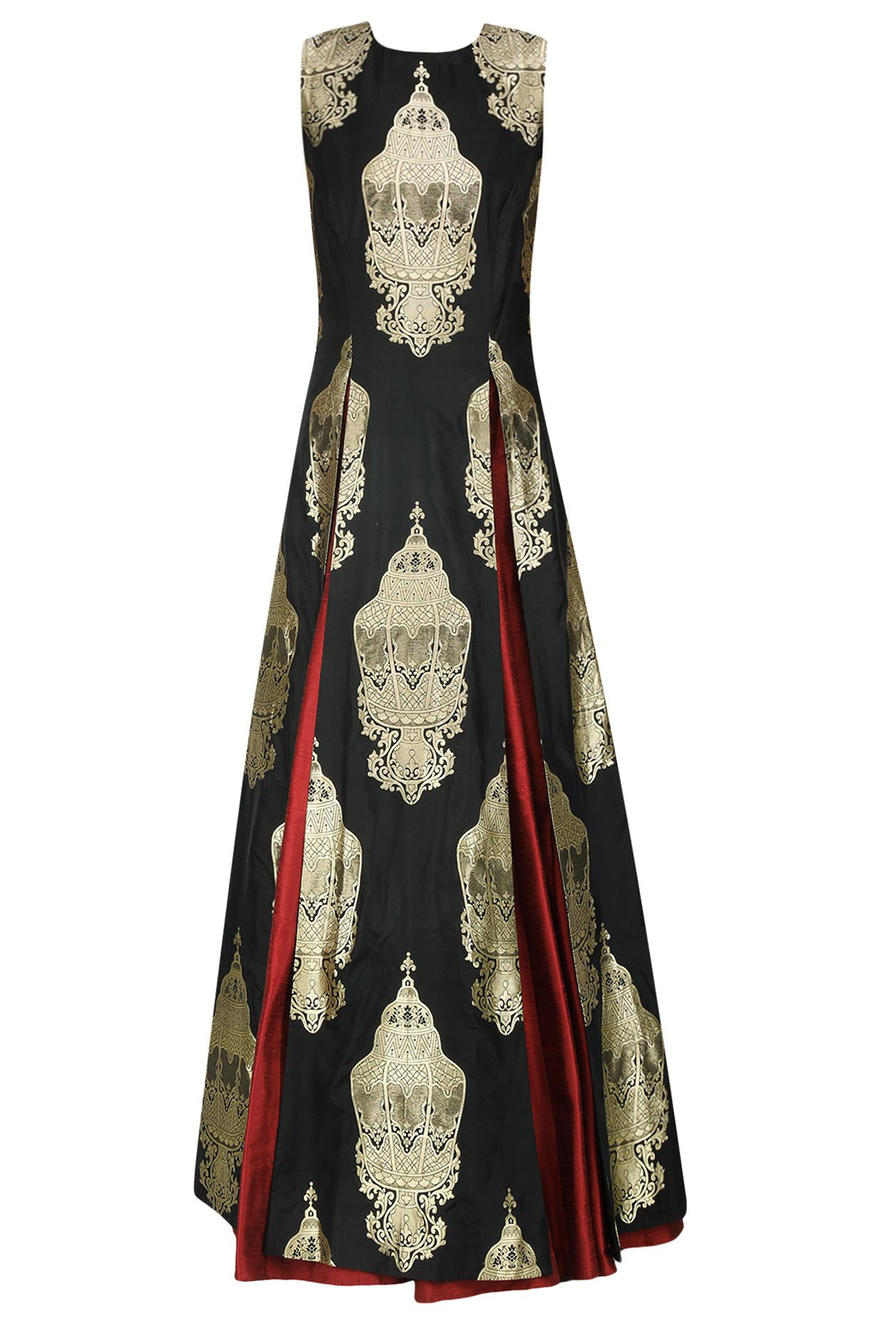 Black lantern brocade high slit kurta and maroon lehenga set