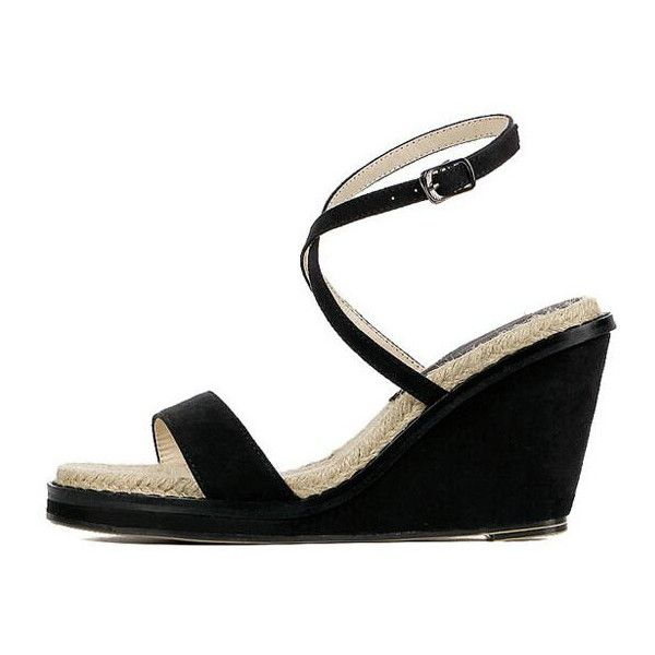 ce9b5305f4c Black Cross Front Wedges Sandals (44 CAD) ❤ liked on Polyvore featuring  shoes