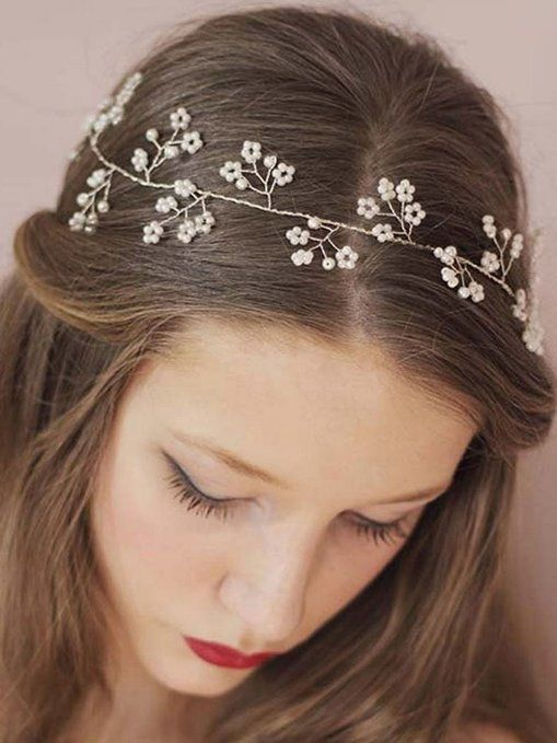 Amazon.com   Venusvi Wedding Headbands for Bride - Bridal Headpiece with  Bead - Hair Accessories   Beauty f41f2be18a1