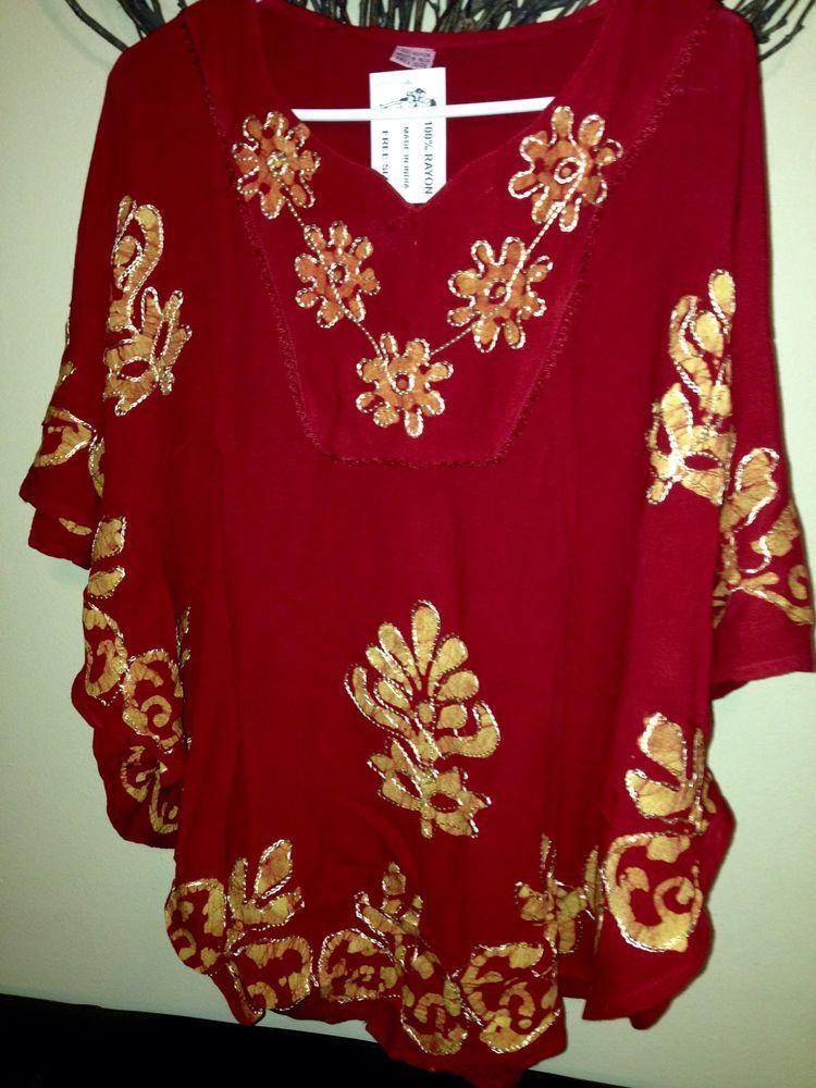 Women Kaftan Tunic Top Kurti Rayon Floral Embroidered Sz L XL | eBay