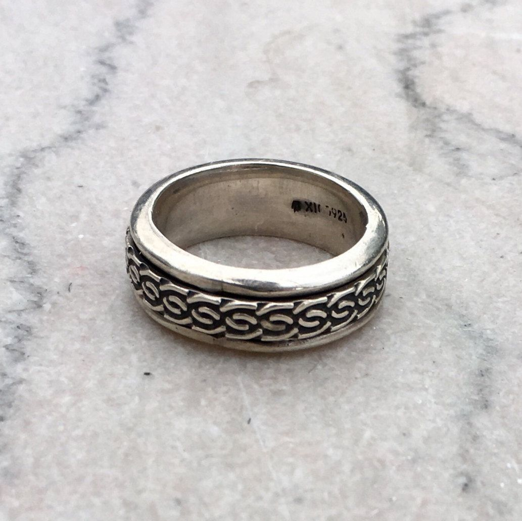 Vintage Men's Sterling Silver Spinner Ring Mexico Size 9   Spinner ...