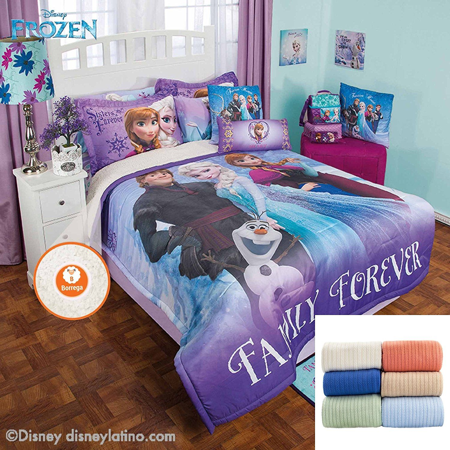 Disney Frozen Family 3 Pc Fleece Comforter Set Twin Bundled With