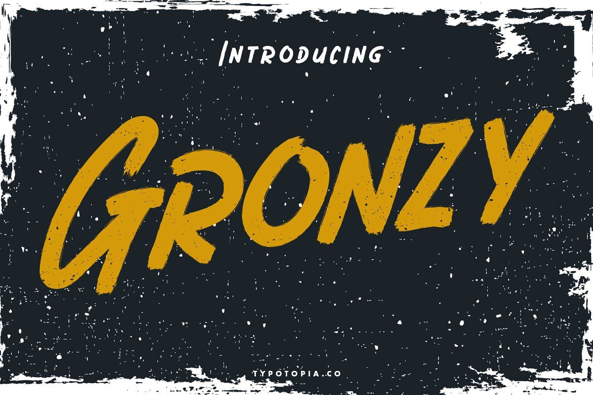 Gronzy brush font in 2020 brush font halloween fonts