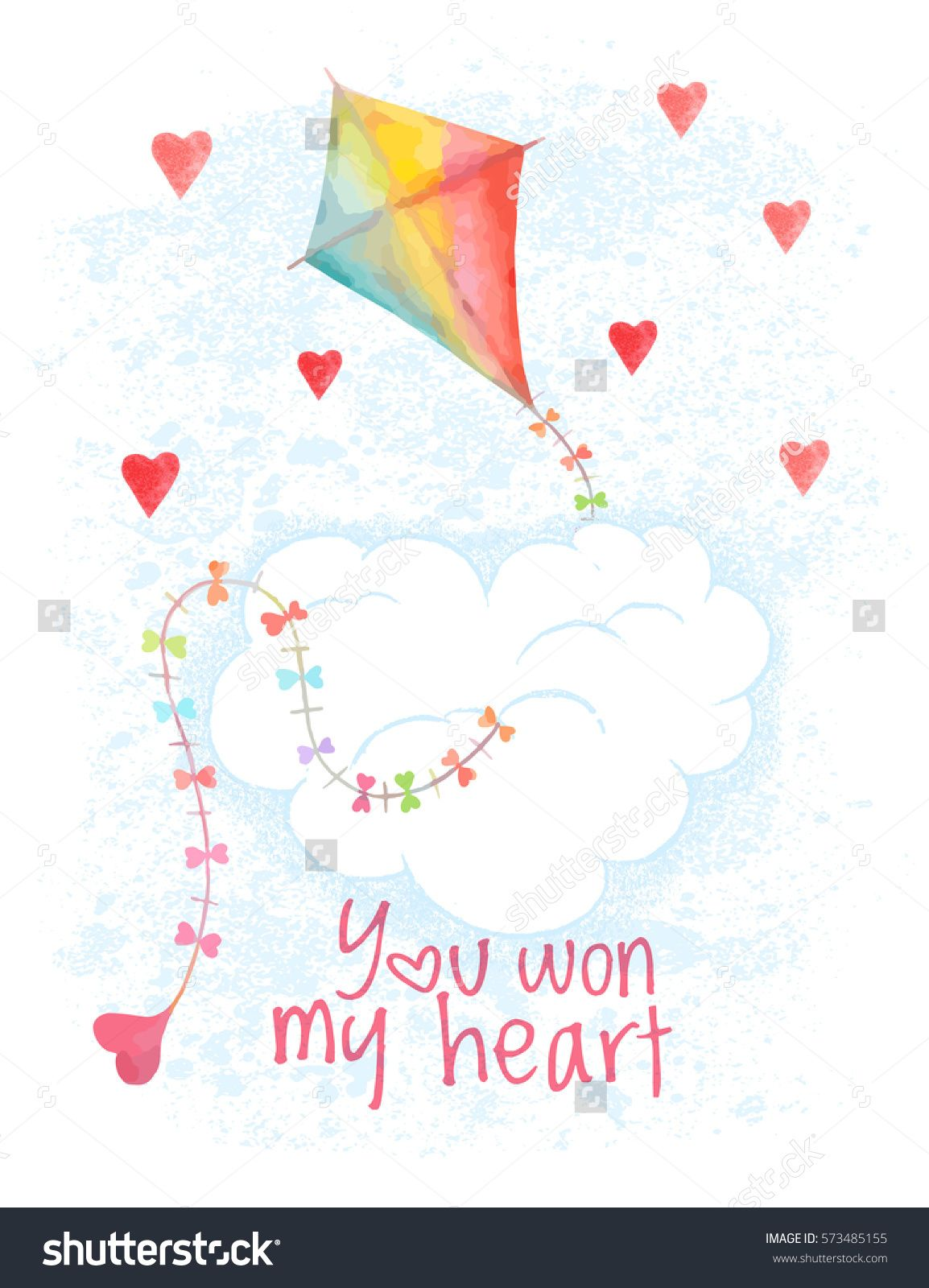 Watercolor Saint Valentines Day Vector Card Hand Drawn Flying