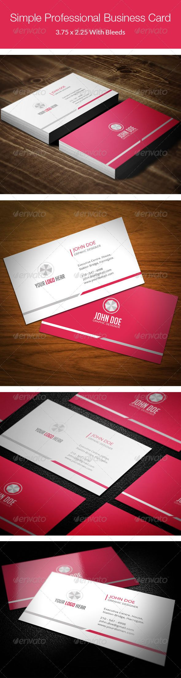 Simple Professional Business Card - 77   Business cards, Minimal ...
