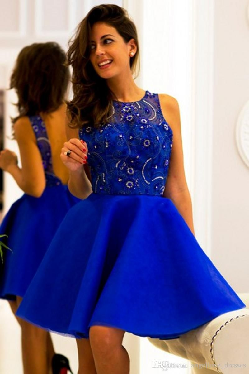 Royal blue short prom dresses beaded sequins sheer neck backless a