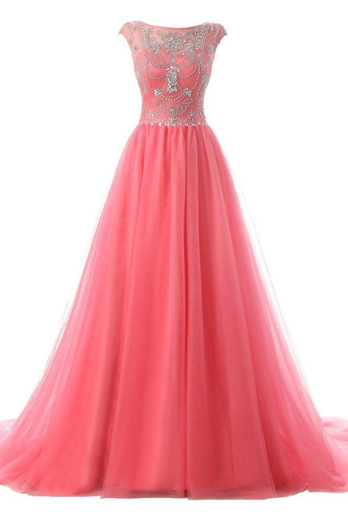 Ellames Long Beads Prom Dress Tulle Cap Sleeves Evening Dress ...