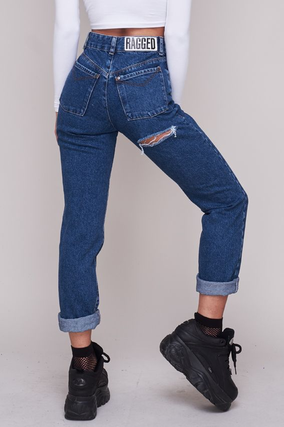 58a0a68951 Classic high waisted mom jean with silver chain and rip detail. – Autumn 17  Collection – 100% Cotton – Sizes 24,26,28,30,32,34″ – Model is 5ft 9