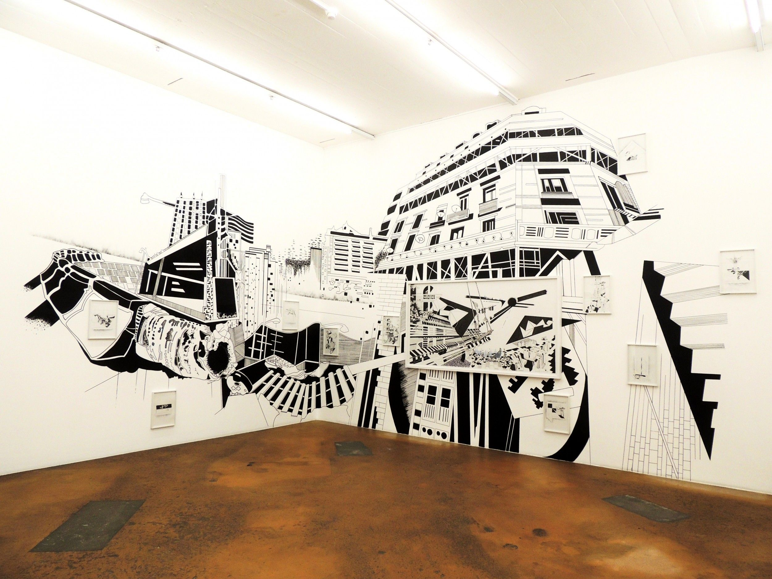 Exhibition: Back of the world, wall drawing, drawings on paper, Mamco  Genve - hriech chourouk