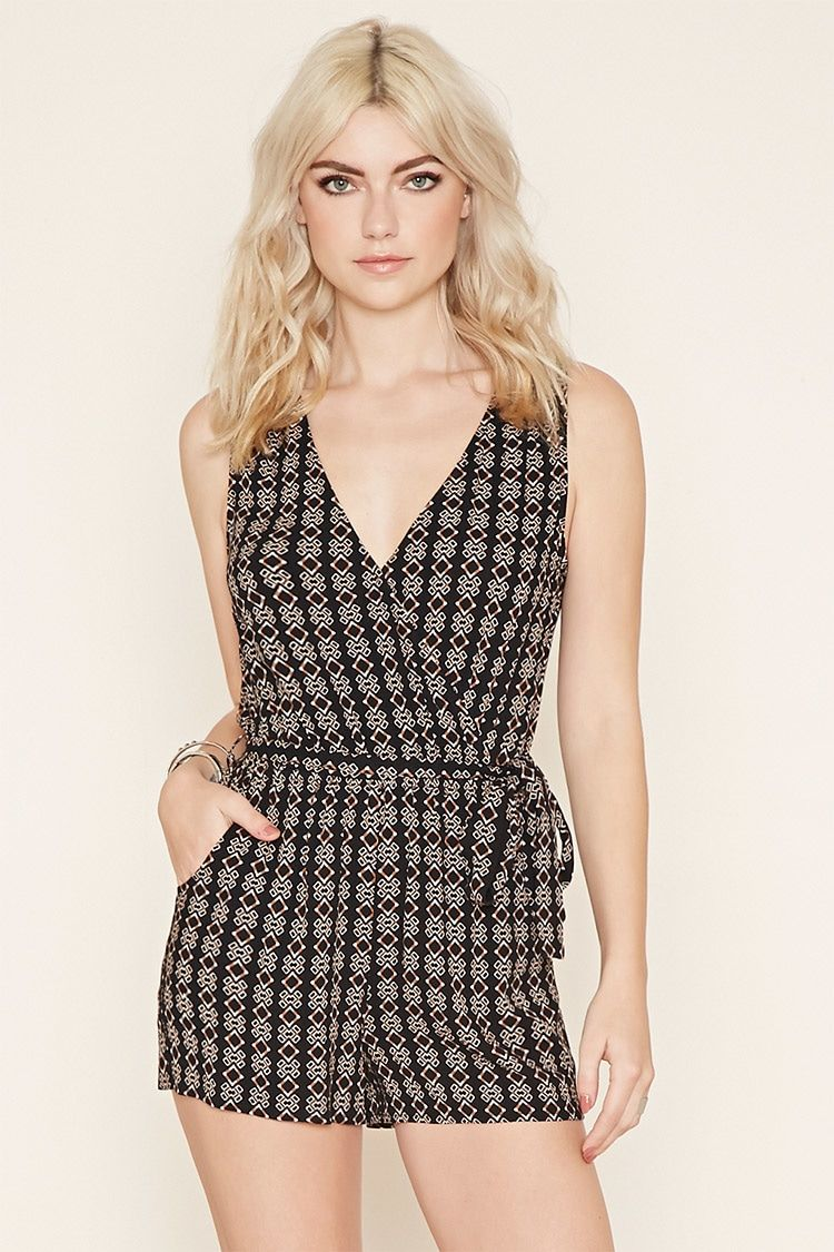 A sleeveless crinkled woven crepe romper with a surplice front, an allover geo print, a removable self-tie belt on its elasticized waist, and slanted front pockets.