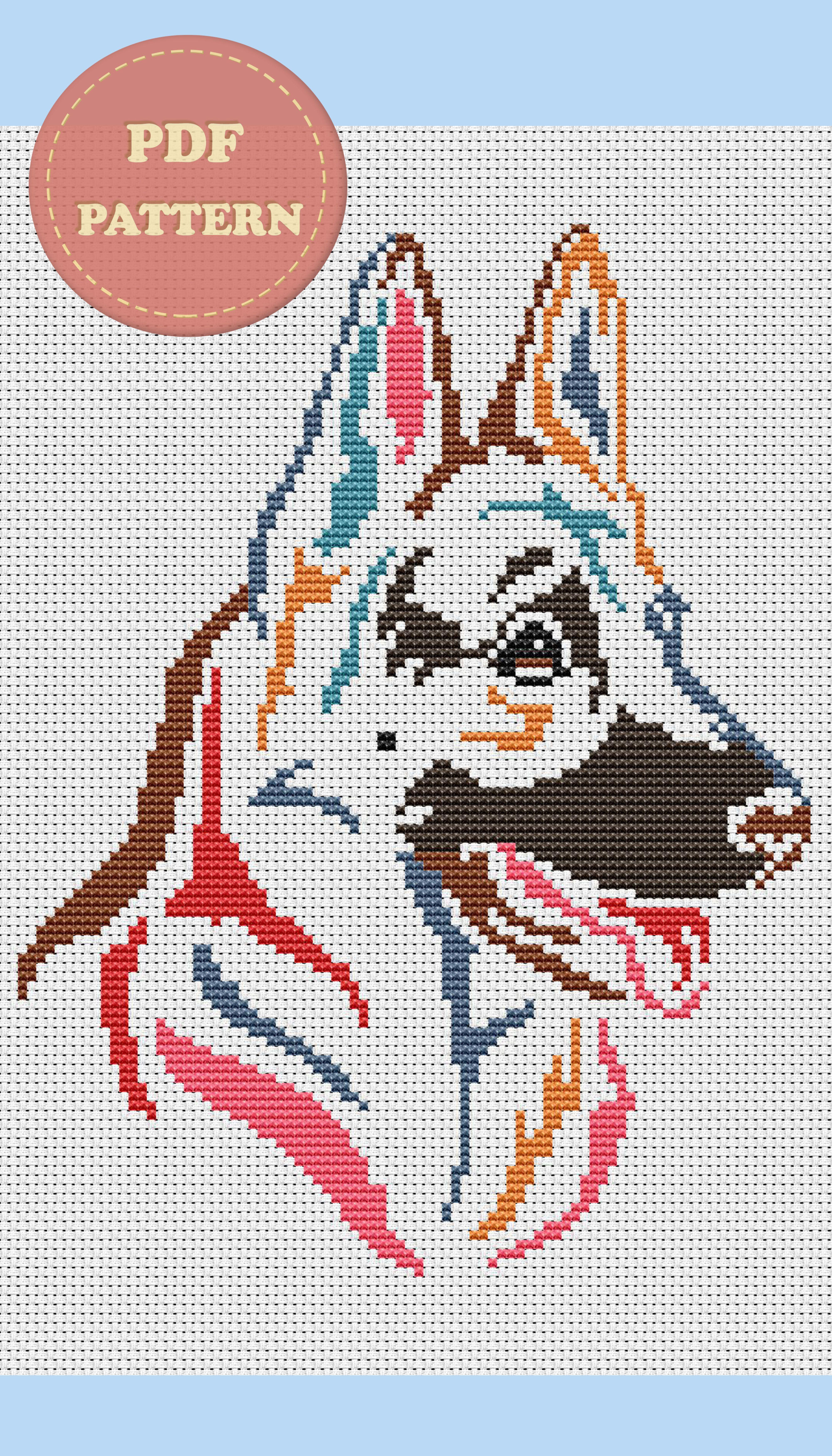 Modern Cross Stitch Pattern PDF Instant Download Dog Stitch Dog Cross Stitch