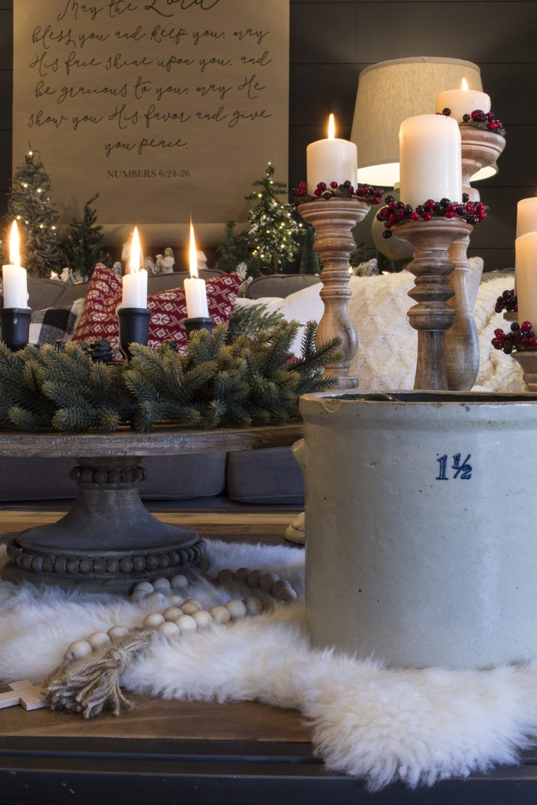 candles on coffee table | Christmas living rooms ...