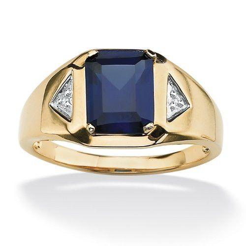 Men/'s Emerald Blue Sapphire 14k White Gold Over Engagement Wedding Band Ring 10