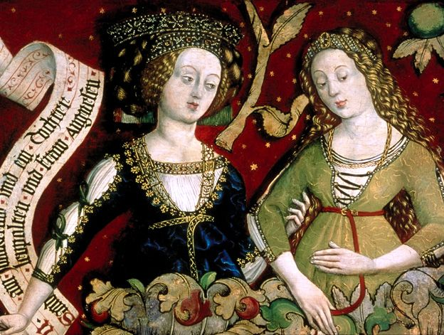 The Babenberger Genealogie  This panel painting, dated 1489-1492s, shows the female genealogie of the Babenberger family