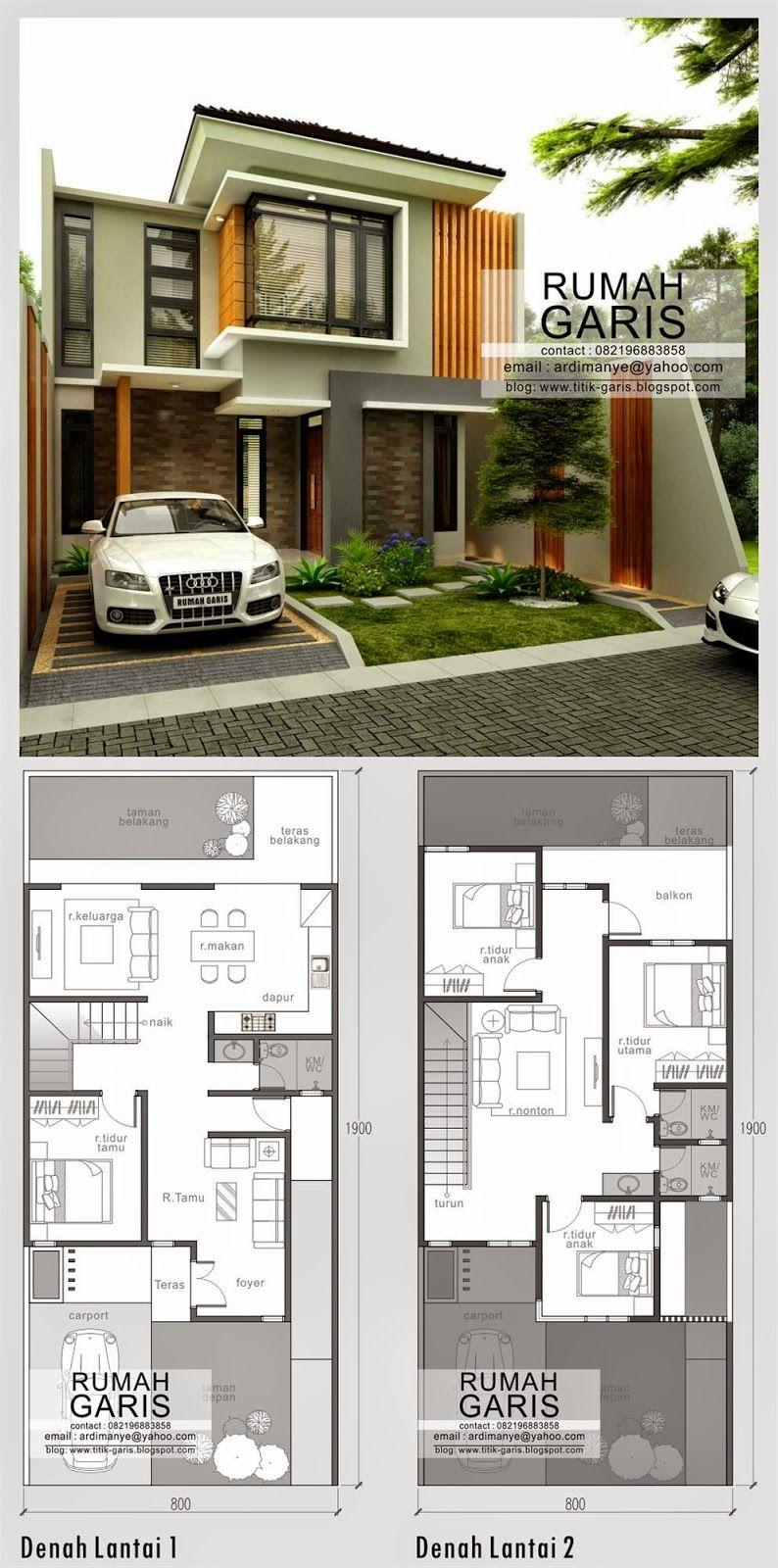 Rumah Idaman 2 Lantai Floor Plans Pinterest Desain Rumah
