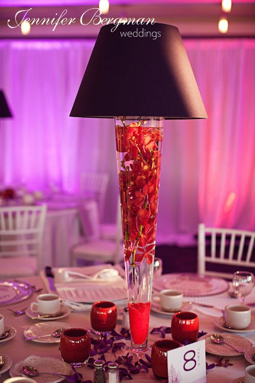 Lamp Shade Centerpiece With Red Mokara Orchids