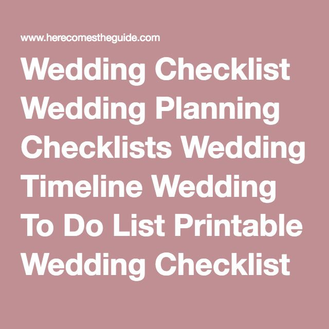 Wedding Checklist Planning Checklists Timeline To Do List Printable