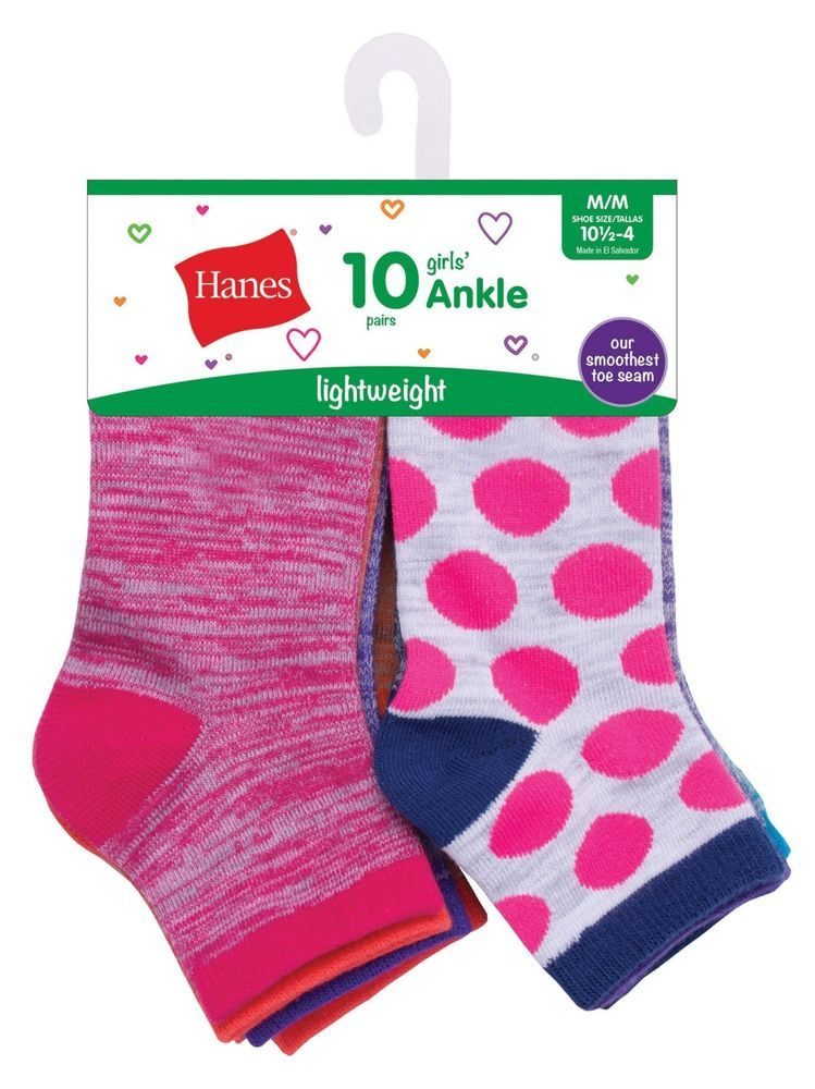 Hanes Lightweight Ankle Socks Girls 10 Pair Size Small fits shoe size 6-10 New