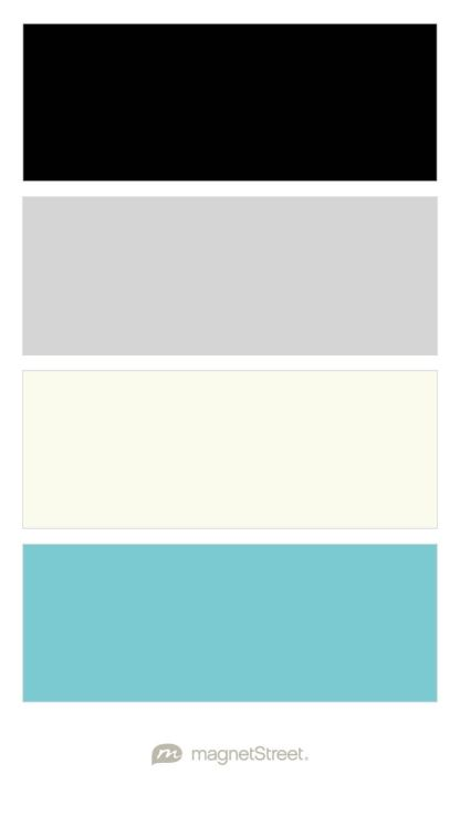 Black, Silver, Ivory, and Turquoise Wedding Color Palette - custom color palette created at MagnetStreet.com