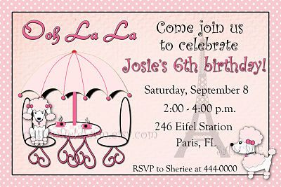 French poodle birthday party invitation by cottonfieldfarm b day french poodle birthday party invitation by cottonfieldfarm stopboris Choice Image