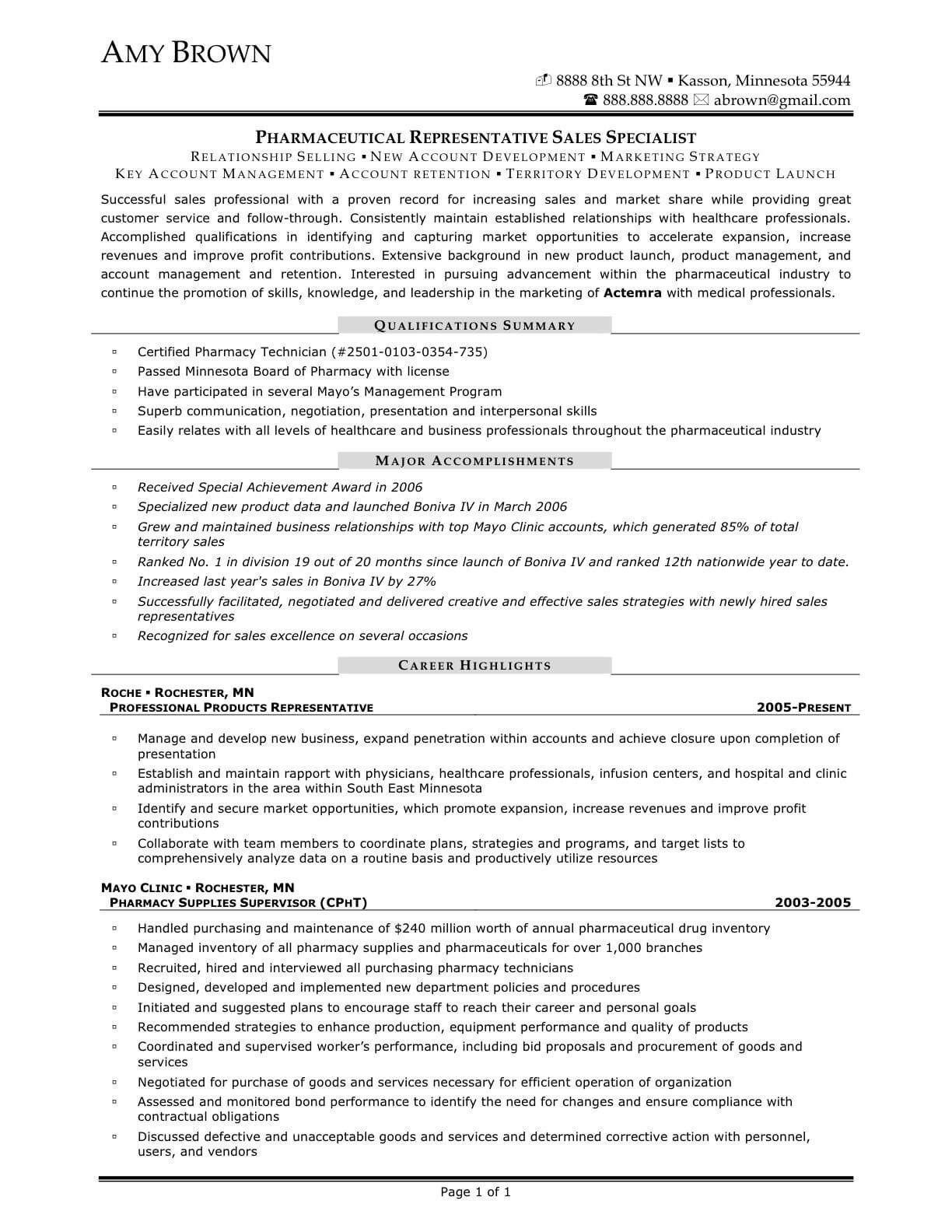 pharmaceutical representative resume samples
