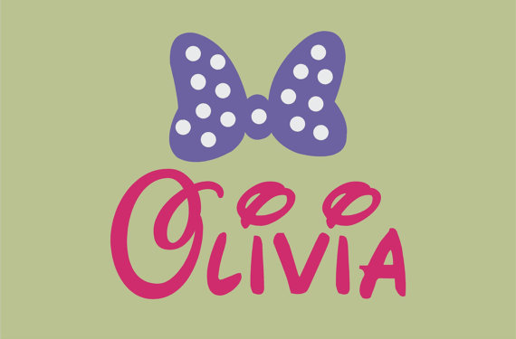 Minnie Mouse inspired Bow and Disney Font Wall Decal Custom Name ...