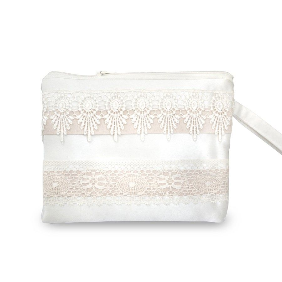 Handmade Lace Wrist Bag - This beautiful handmade wedding bag is made with luxurious duchess ivory satin and decorated o both sides with ivory lace and blush/nude shades of ribbon. The bag has a zip closure, blue and ivory striped lining and a satin wrist strap.