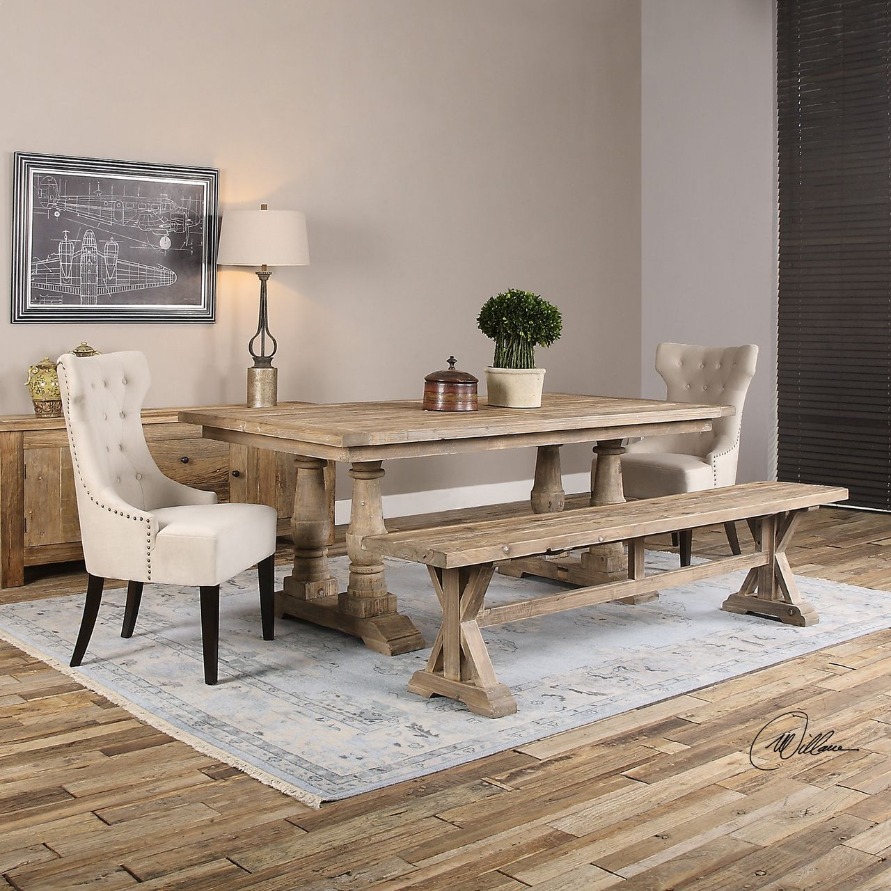 Salvaged Wood Double Trestle Dining Table Trestle Dining - Double trestle dining table