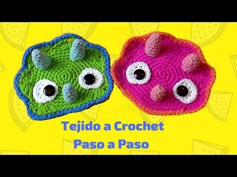 Dinosaurio Triceratops Tejido A Crochet Aplique Paso A Paso Youtube Tejidos A Crochet Aplique De Ganchillo Dinosaurio De Crochet